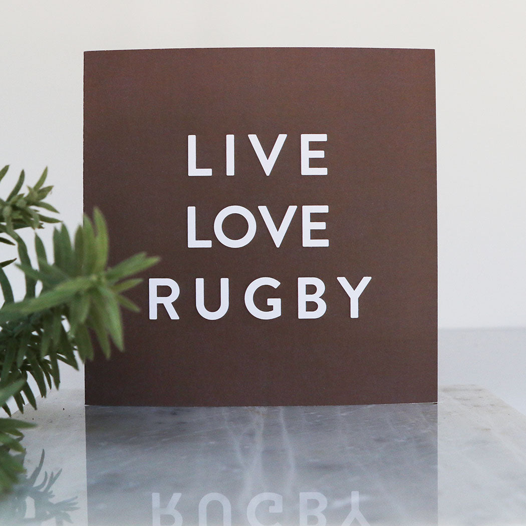 Brown Live Love Rugby LIGA Recycled Square Card