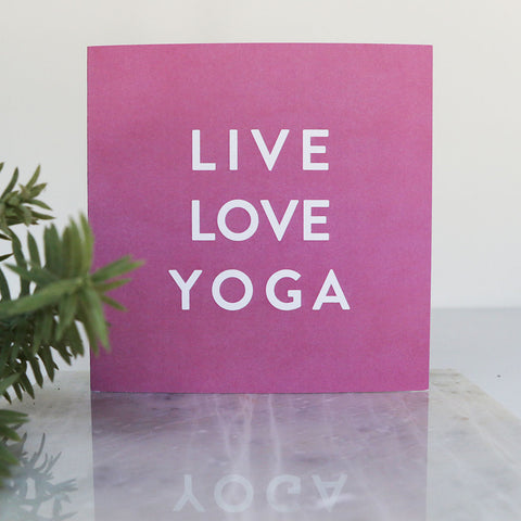 Pink Live Love Yoga LIGA Recycled Square Card