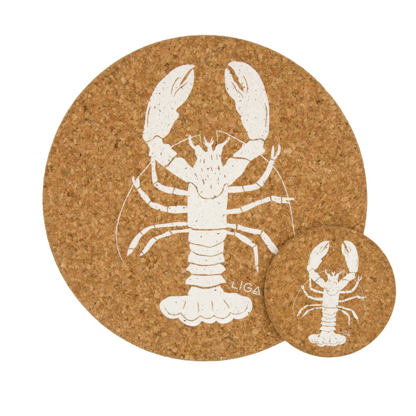 Liga Sustainable Cream Lobster Printed Eco Cork Placemat and Coaster