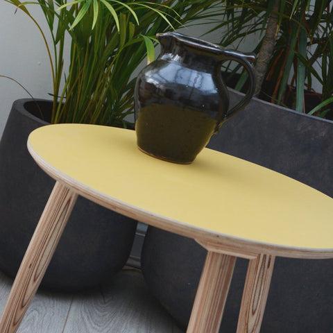 Mustard Round Side Table | Birch Plywood & Laminate | LIGA