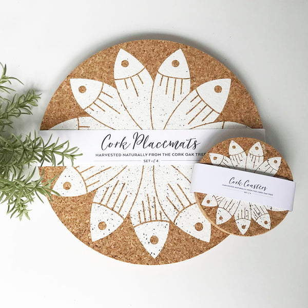 Set of 4 Sustainable Cork Coasters | Cream Printed Pilchard Wheel | LIGA