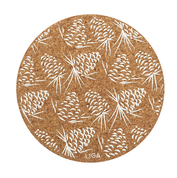 Liga Sustainable Cream Pinecone Printed Eco Cork Placemat