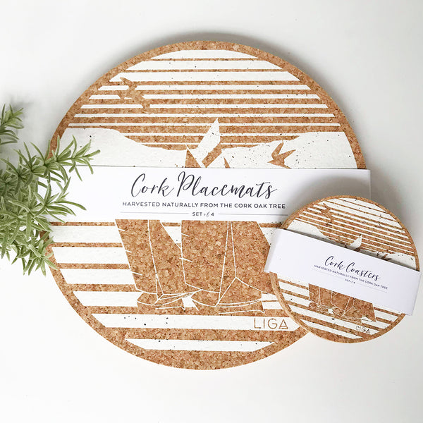 Set of 4 Sustainable Cork Coasters | Cream Printed Regatta Boat | LIGA