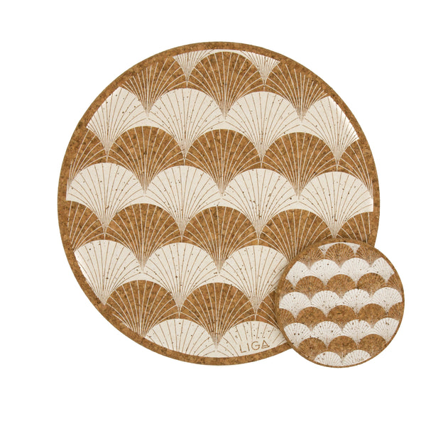 Liga Sustainable Cream Scallop Eco Cork Placemat and Coaster