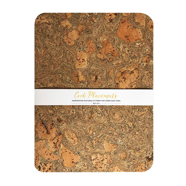Set of 4 Rectangle Sustainable Marbled Cork Placemats | LIGA