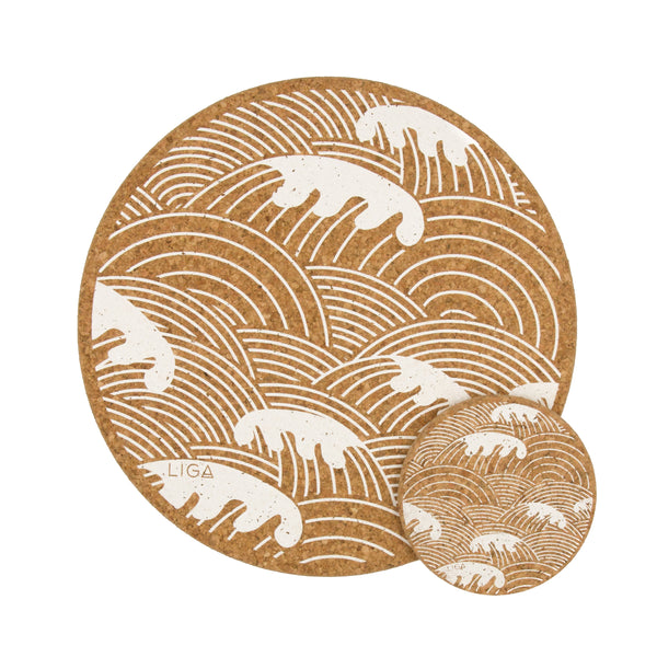 Liga Sustainable Cream Wave Printed Eco Cork Placemat and Coaster