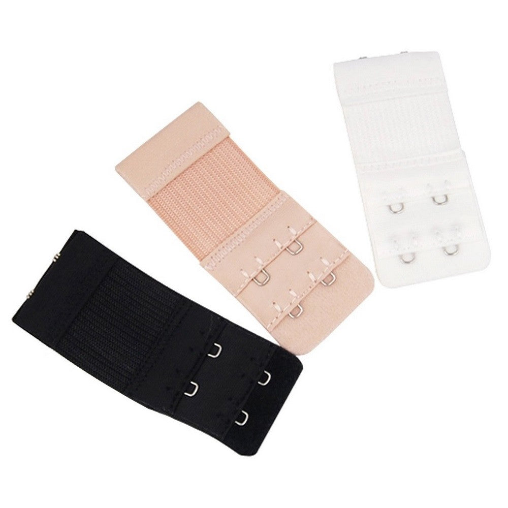 3 Pack 2 Hook Bra Extenders - Black, White & Nude - Blu Apparel