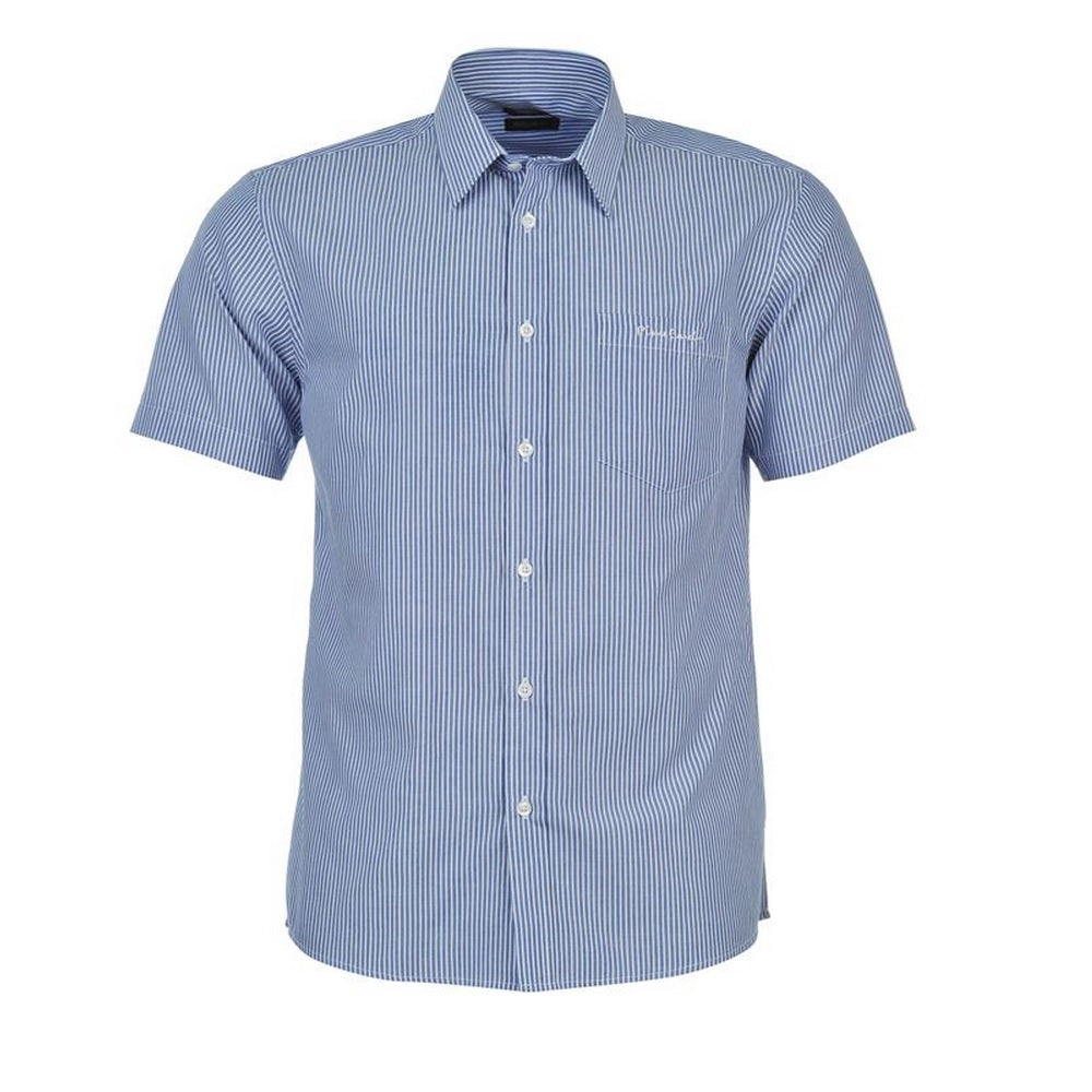 Mens Pierre Cardin Short Sleeve Shirt - Blue White Stripe