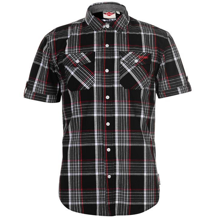Mens Lee Cooper S/S Checked Shirt - White/Black - Blu Apparel