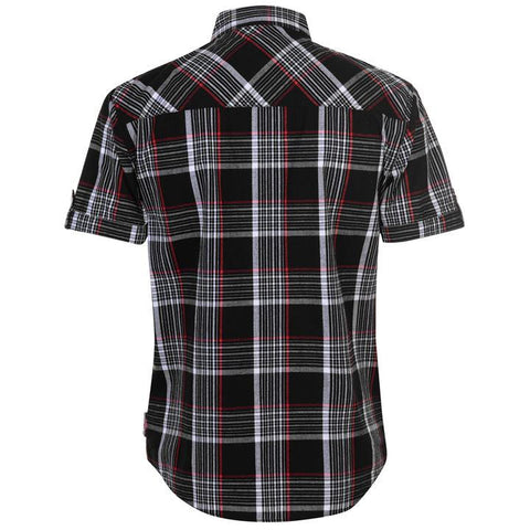 Mens Lee Cooper S/S Checked Shirt - Black/White/Red