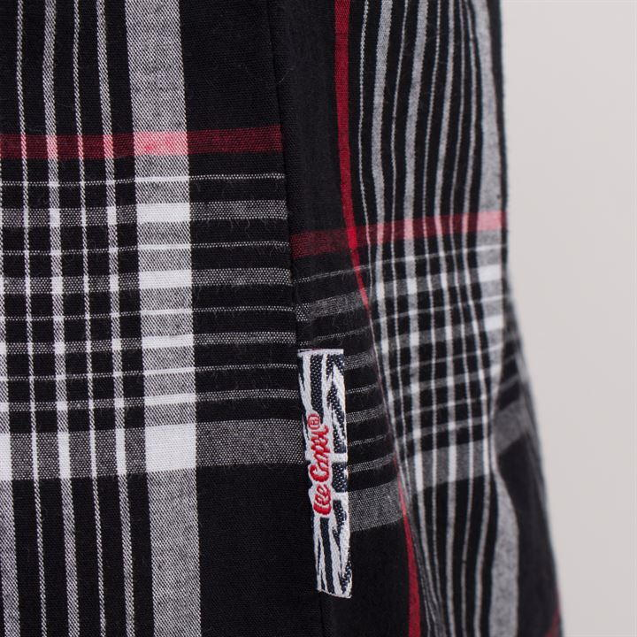 Mens Lee Cooper S/S Checked Shirt - Black/White/Red - Blu Apparel