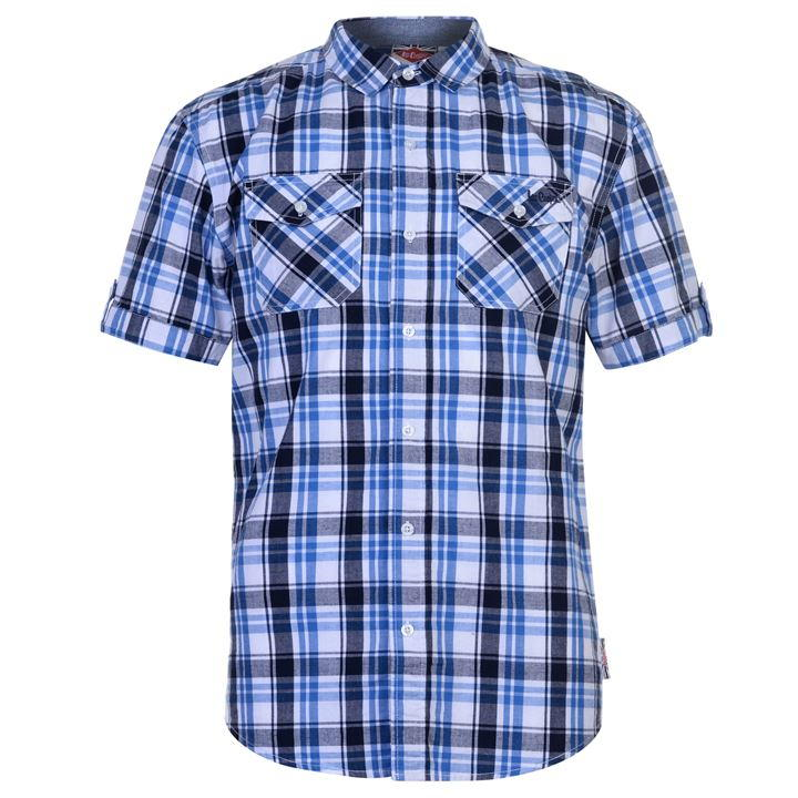 Mens Lee Cooper S/S Checked Shirt - Red/White/Black - Blu Apparel