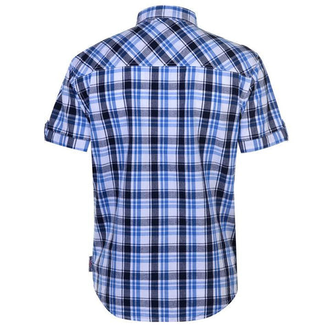 Mens Lee Cooper S/S Checked Shirt - White/Navy/Blue