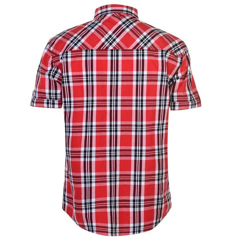 Mens Lee Cooper S/S Checked Shirt - Red/White/Black