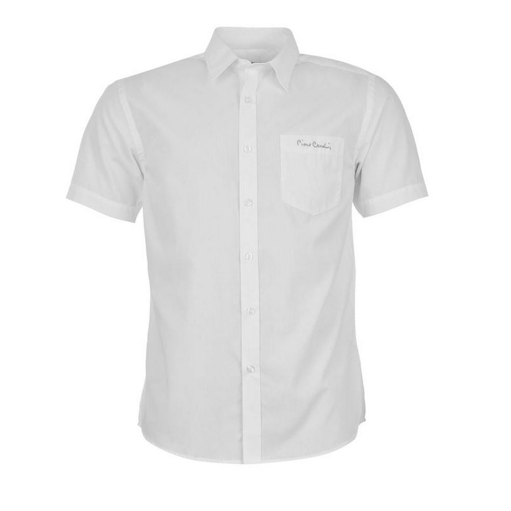 Mens Pierre Cardin Short Sleeve Shirt - White - Blu Apparel