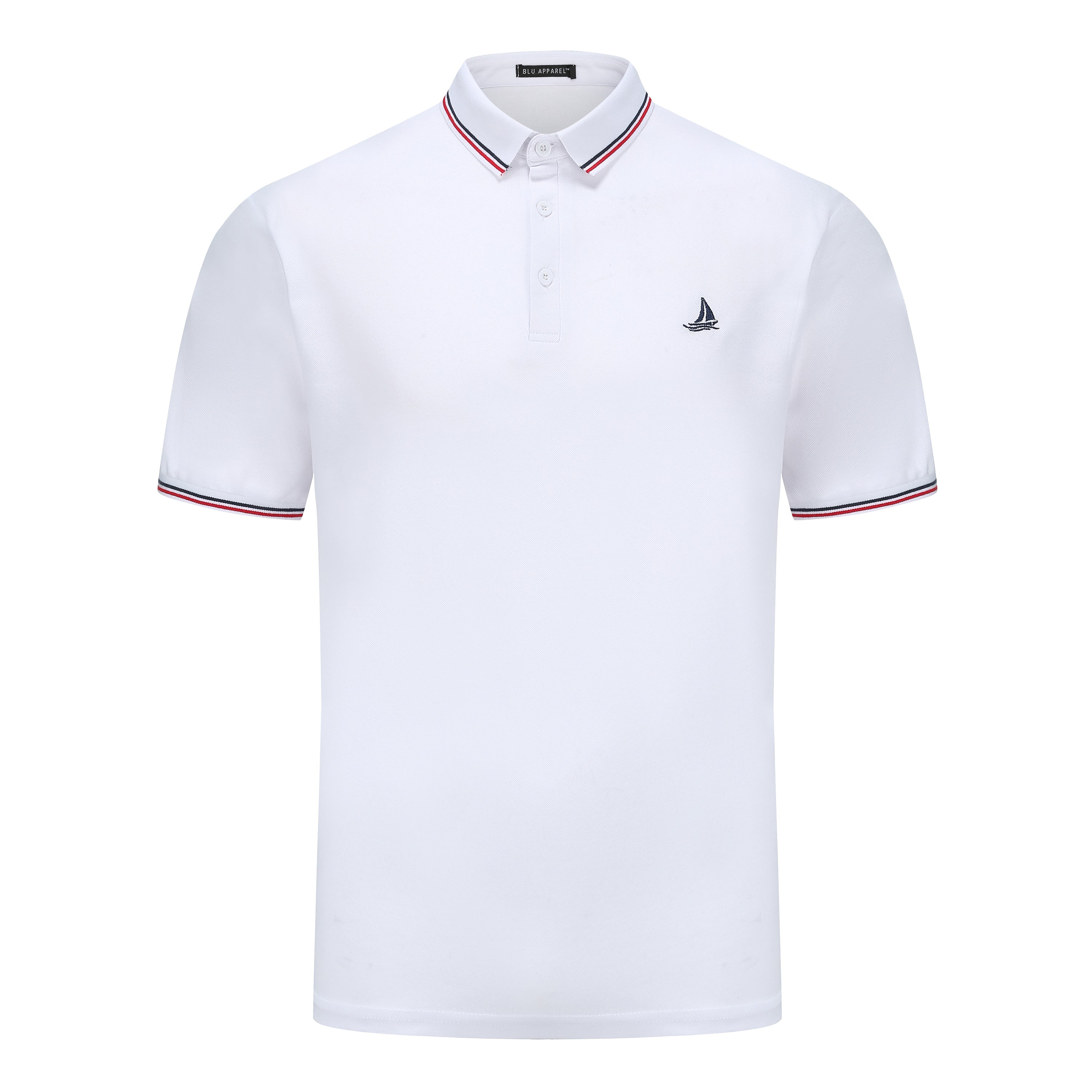 Mens Short Sleeve Polo T-Shirt - White and Navy - 2 PACK