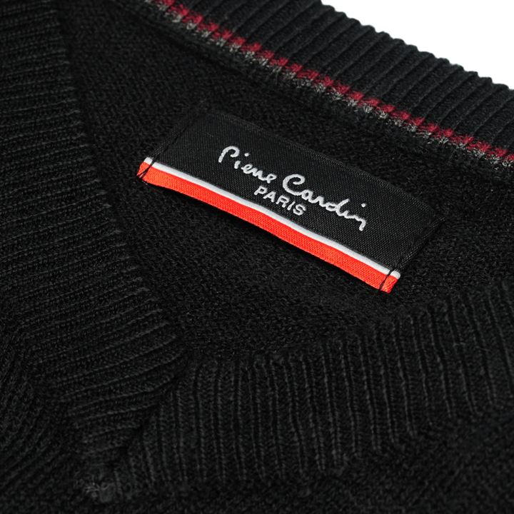 Pierre Cardin V Neck Jumper - Black - Blu Apparel