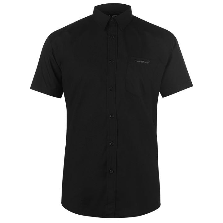 Mens Pierre Cardin Short Sleeve Shirt - Black - Blu Apparel