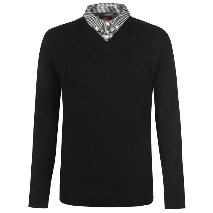 Pierre Cardin Mock V Neck Jumper - Black