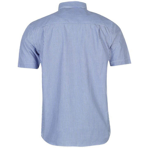 Mens Pierre Cardin Short Sleeve Shirt - Blue/White Stripe