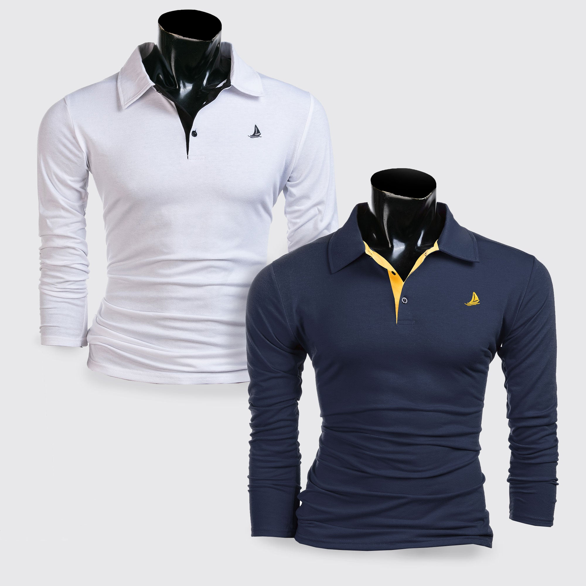 LS Bradley Polo 2 Pack - White & Navy - Blu Apparel