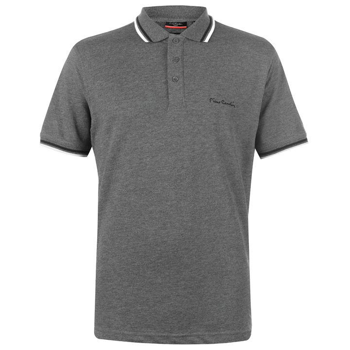 Pierre Cardin Tipped Polo - Charcoal - Blu Apparel