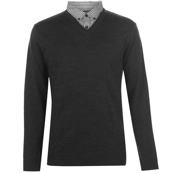Pierre Cardin Mock V Neck Jumper - Black - Blu Apparel