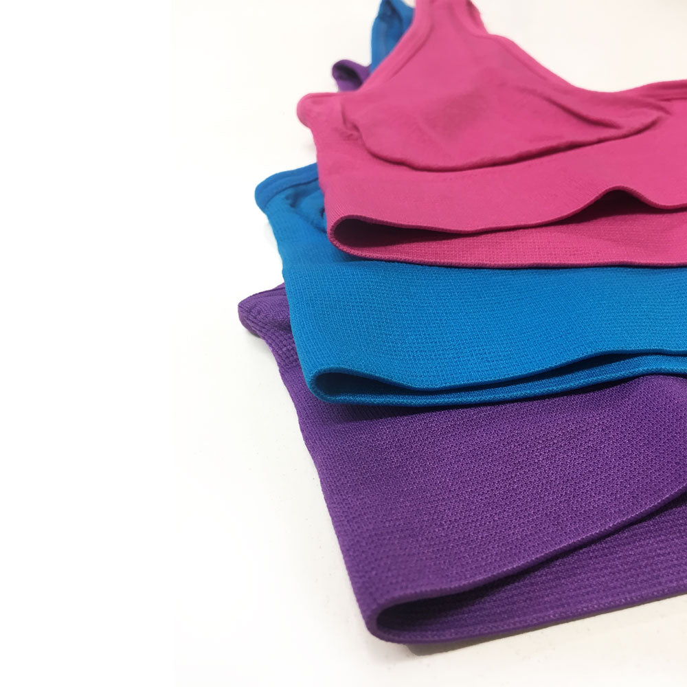 3 Pack Comfort Colour Seamless Bra - Blue, Purple, Ruby - Blu Apparel