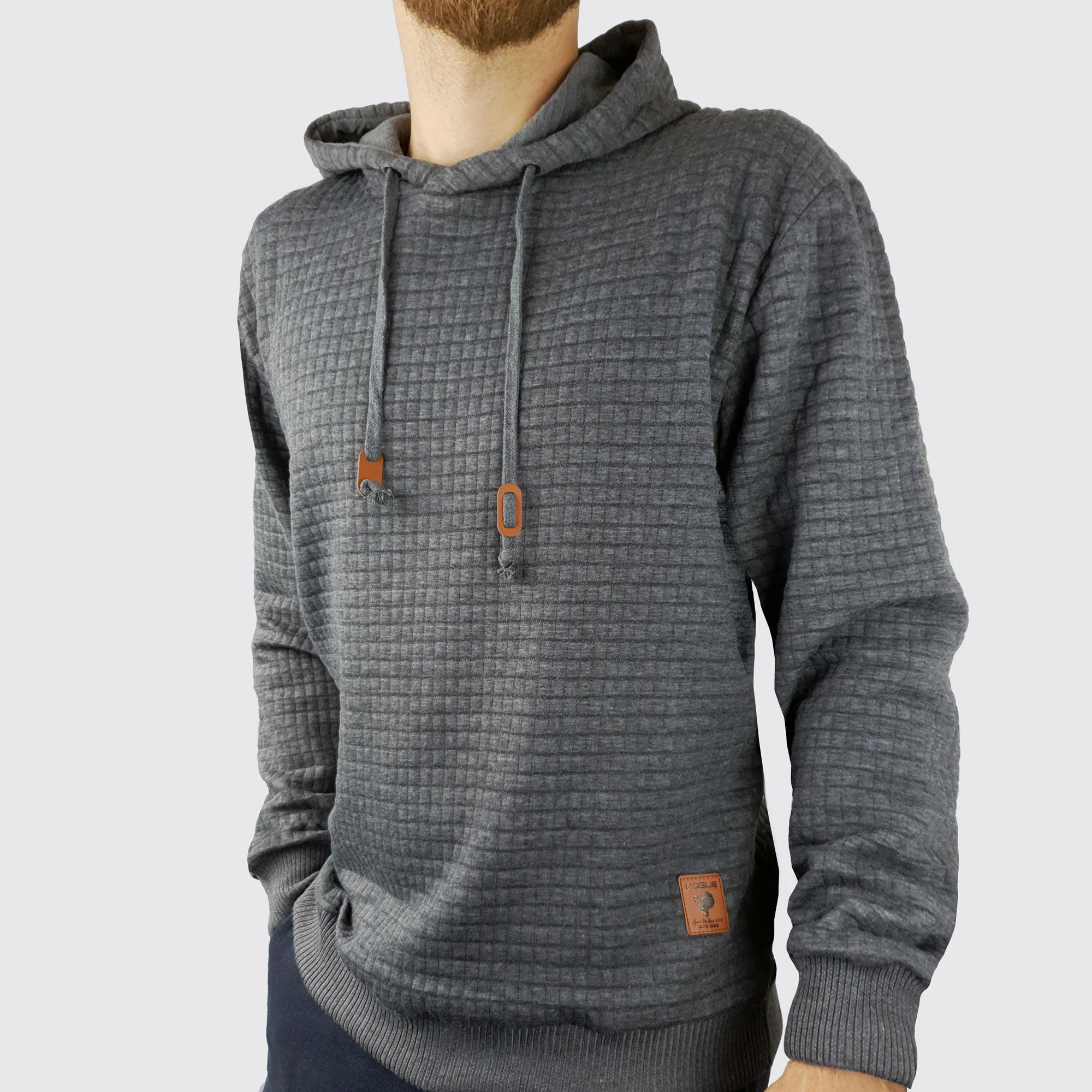Nathan Textured Hoodie - Charcoal - Blu Apparel