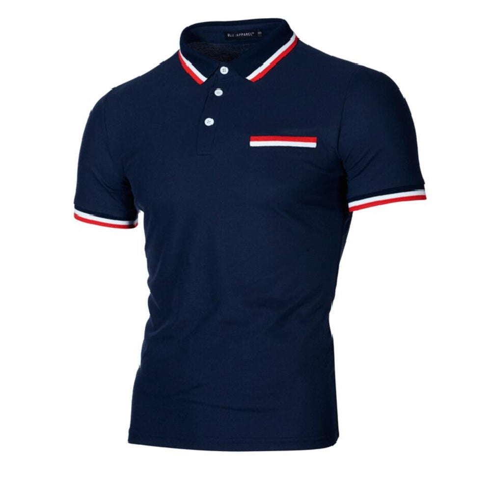 Hudson Mock Pocket Polo - Navy - Blu Apparel