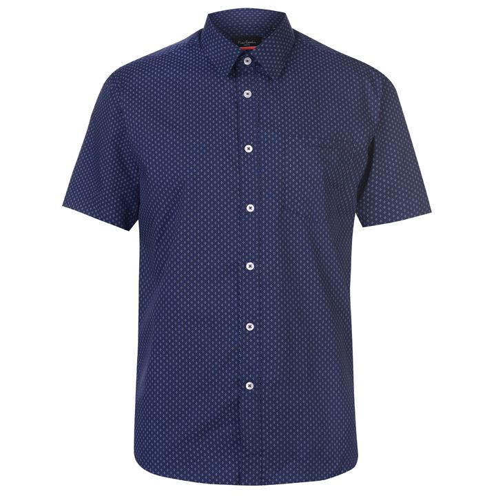 Mens Pierre Cardin Short Sleeve Shirt - Blue/White Stripe - Blu Apparel