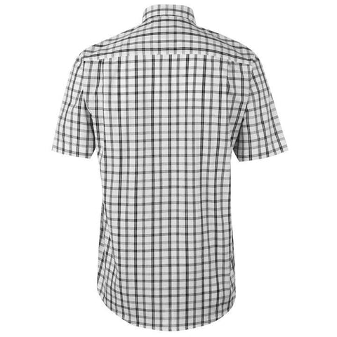Mens Pierre Cardin Short Sleeve Shirt - White/Black Check
