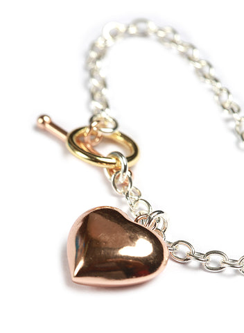 Rose Gold Plated Heart Bracelet in sterling silver