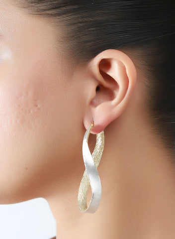 LeCalla Twisted Two Tone Hoop Earring