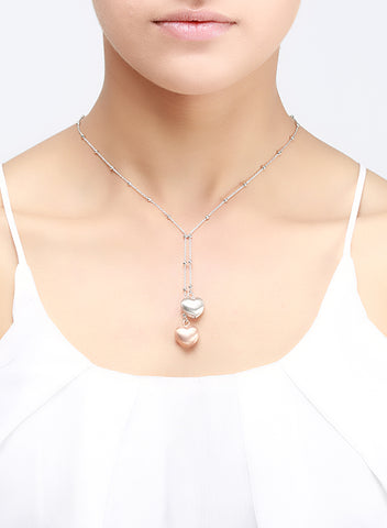 Puffed Heart 925 Sterling Silver Necklace