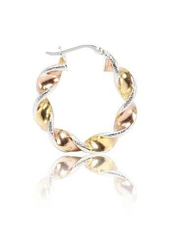 Twisted Rose Gold and Gold Plated Sterling Silver Hoops