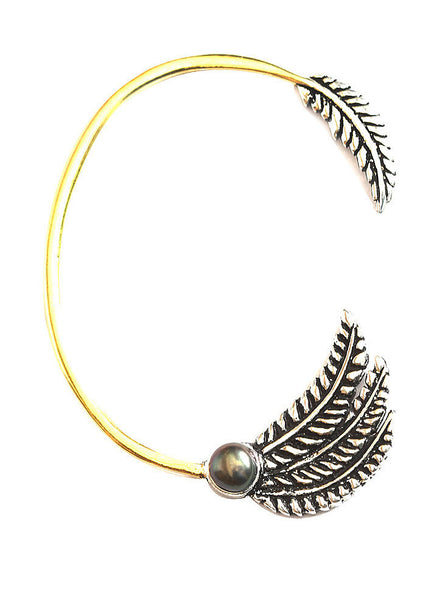 Feather Pearl Ear Cuff - Brass - LeCalla