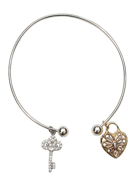Lock Your Heart Charm Bangle - Sterling Silver - LeCalla