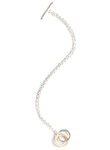 Three Tone Hollow Link Bracelet - Sterling Silver - LeCalla.in