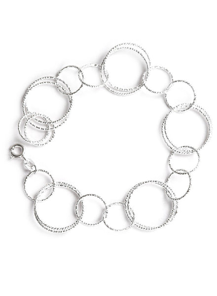 Hand Made Link Chain Silver Bracelet - Sterling Silver - LeCalla.in