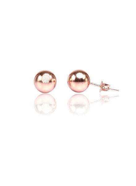 Rose Gold Ball Post Earrings - Sterling Silver - LeCalla