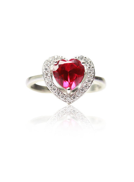 Valentine Heart Love Ring - Sterling Silver - LeCalla