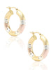 Three Tone Classy Hoop Earrings - Sterling Silver - LeCalla.in