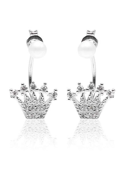 Princess Cut Back Lobe Stud Earrings - Sterling Silver - LeCalla