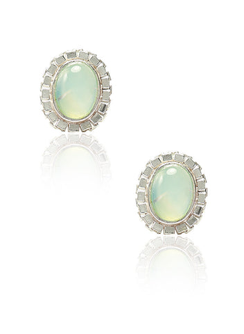 Aqua Chalcedony Stud Earrings - Sterling Silver - LeCalla