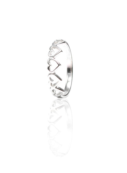 Link Of Hearts Silver Ring - Sterling Silver - LeCalla