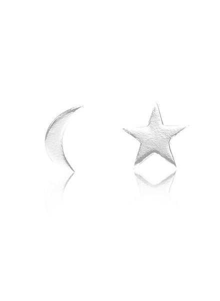 Moon Star Mismatch Stud Earring - Sterling Silver - LeCalla