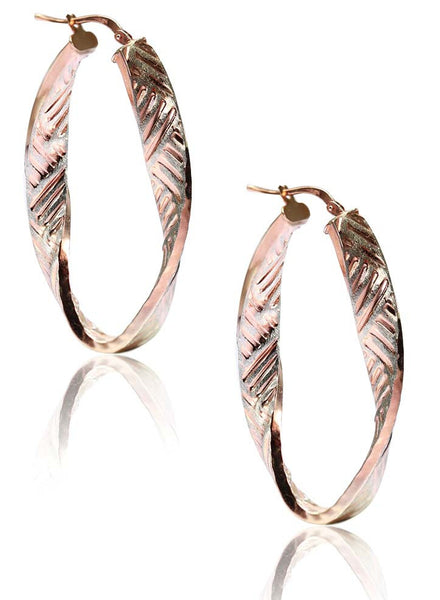 Patterned Rose Gold Hoop Earrings