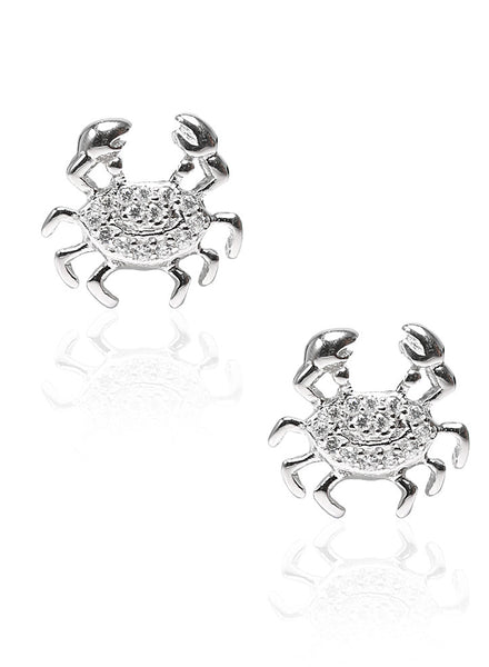 Sea Life Crab Stud Earrings - Sterling Silver - LeCalla