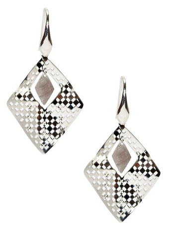 Laser Cut Rhombus Dangler Earrings - Sterling Silver - LeCalla